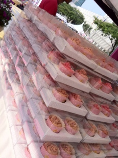 Yumm! loads of pink cupcakes for charity sales